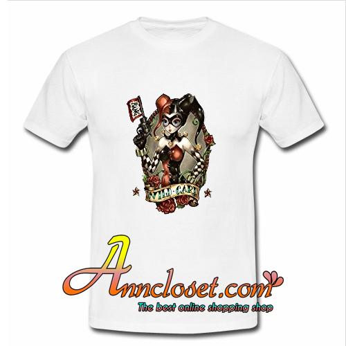 Wild Joker Girl Card Gmbler With Gun Mask Bang Unisex T Shirt At