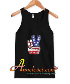 Fourth 4th of July Shirt American Flag Peace Sign Hand Tank Top At
