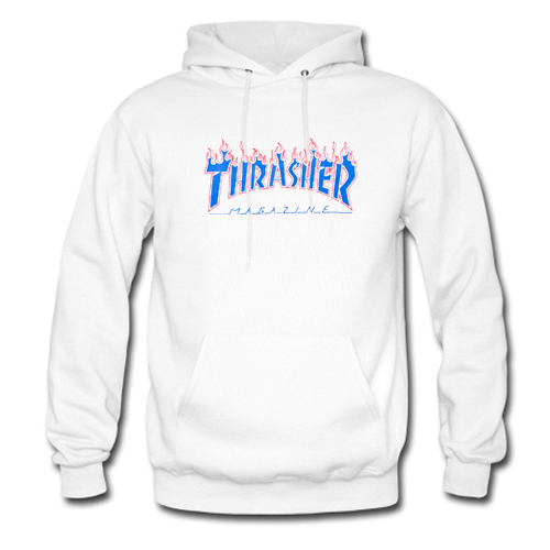 Thrasher Patriot Blue Flame Hoodie At