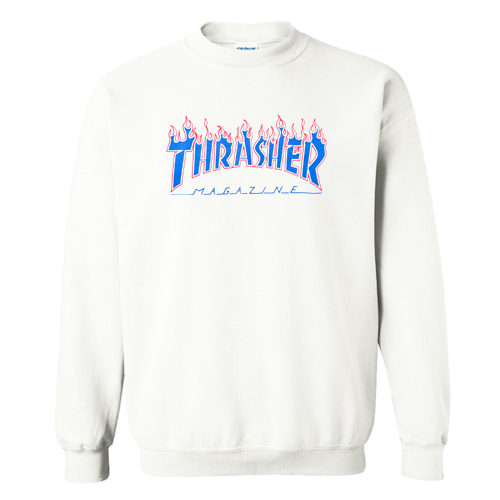 Thrasher Patriot Blue Flame Sweatshirt At
