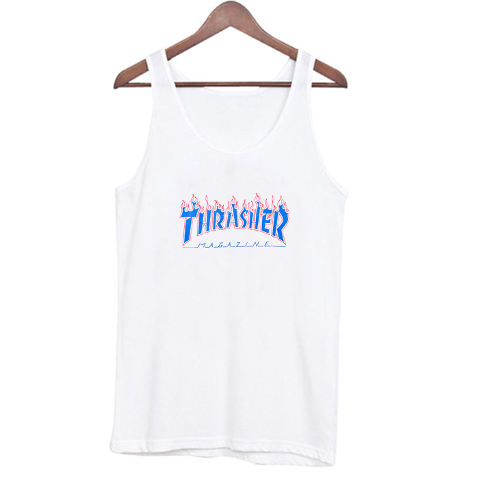 Thrasher Patriot Blue Flame Tank Top At