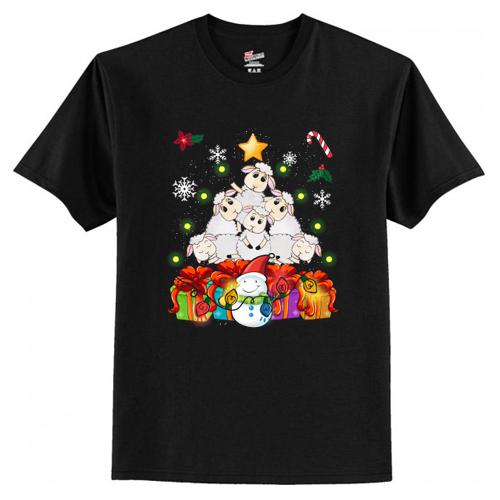 Funny Sheep Christmas Tree Cute Decor Gift Xmas Presents T-Shirt At