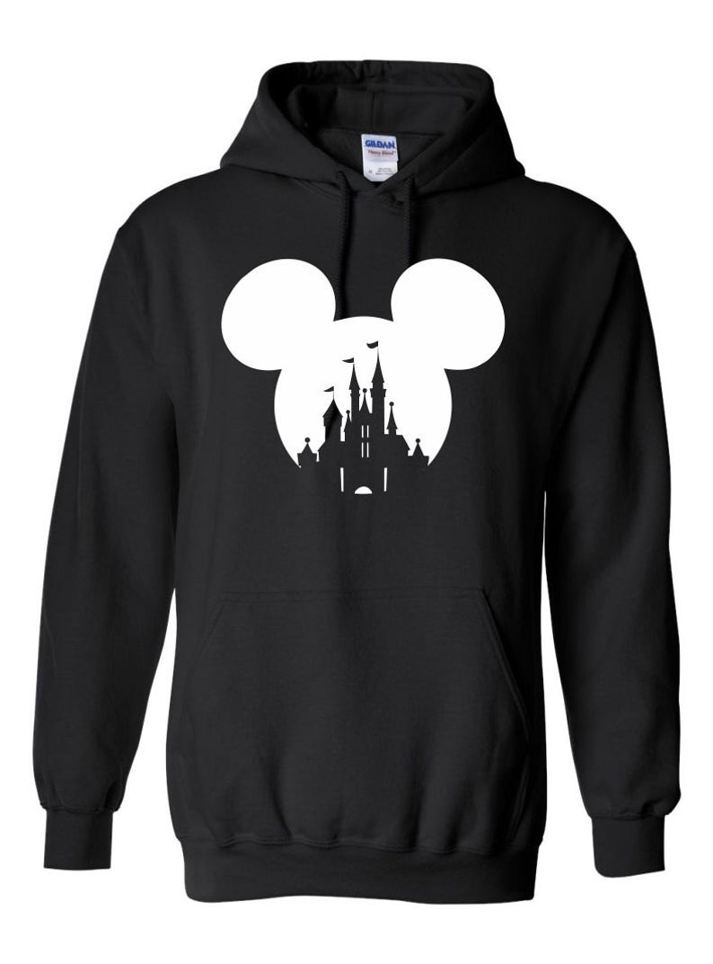 Mickey Mouse or Minnie Mouse Head with Disney Castle Hoodie SFA