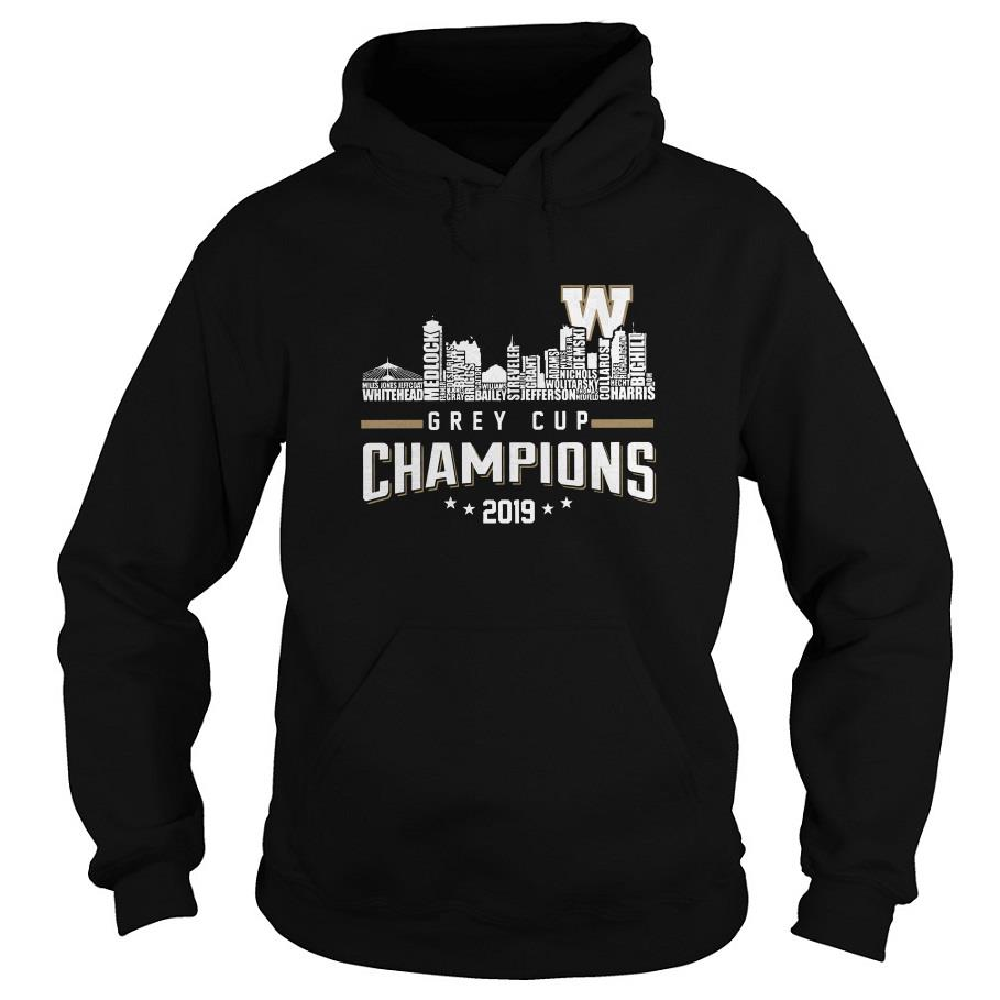107th Grey Cup Blue Bombers Building Players Champions 2019 Hoodie SFA