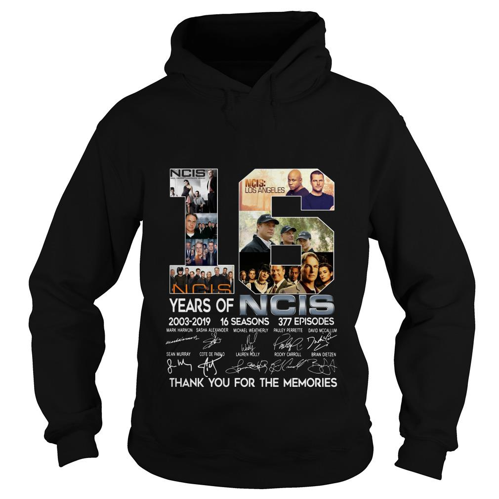 16 Years Of NCIS 2003 2019 Thank You For The Memories Signatures Hoodie SFA
