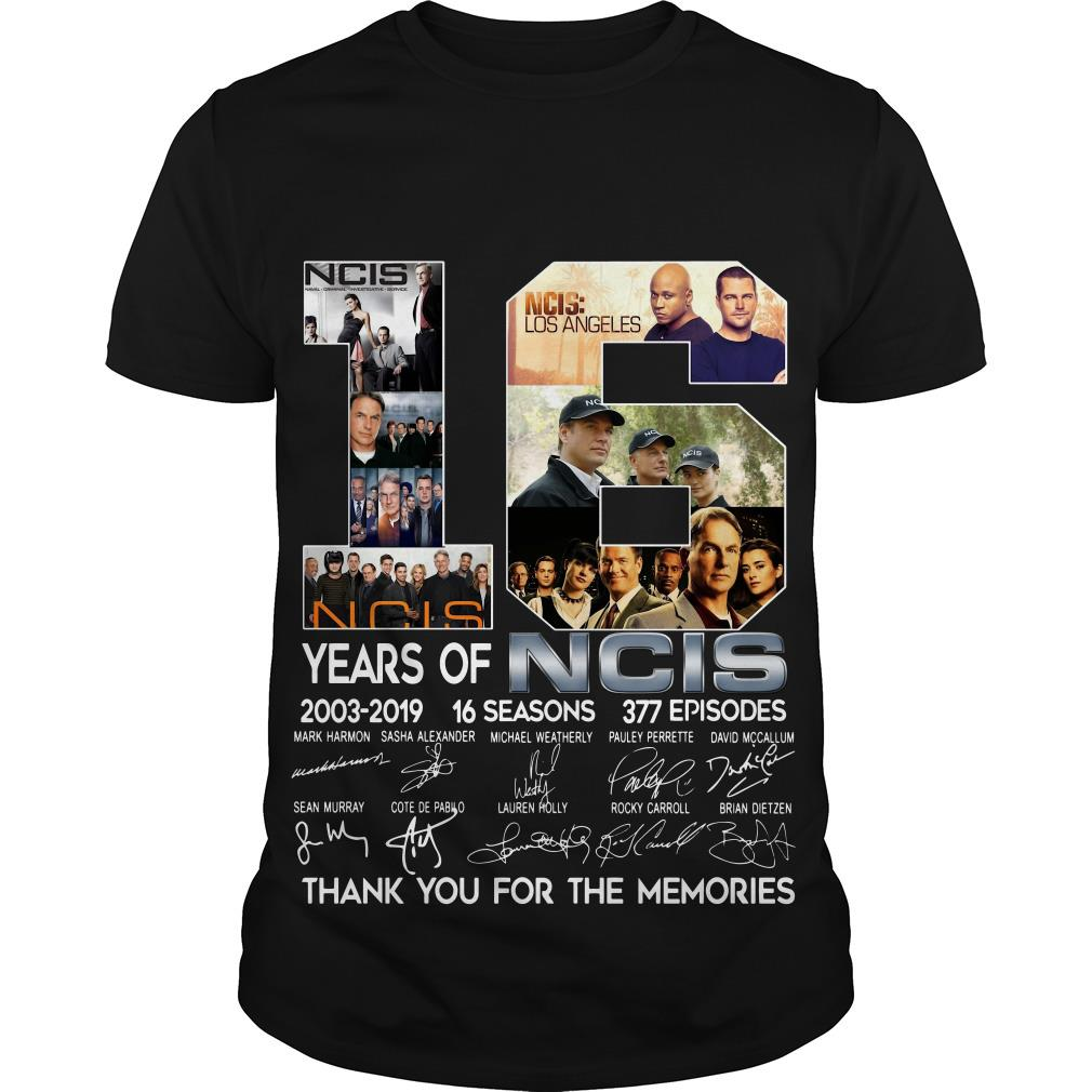 16 Years Of NCIS 2003 2019 Thank You For The Memories Signatures T Shirt SFA