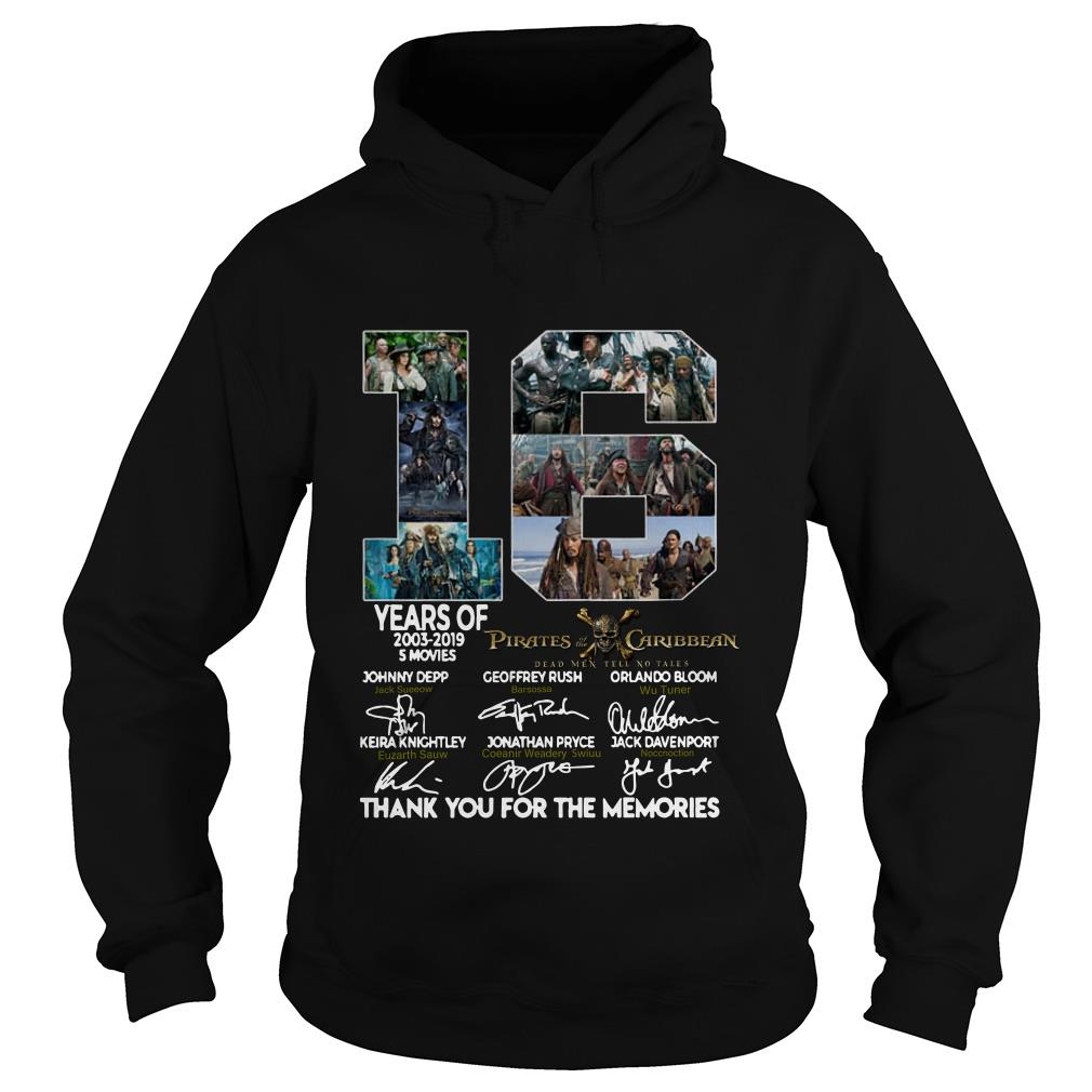 16 Years of Pirates Caribbean thank you for the memories signatures Hoodie SFA