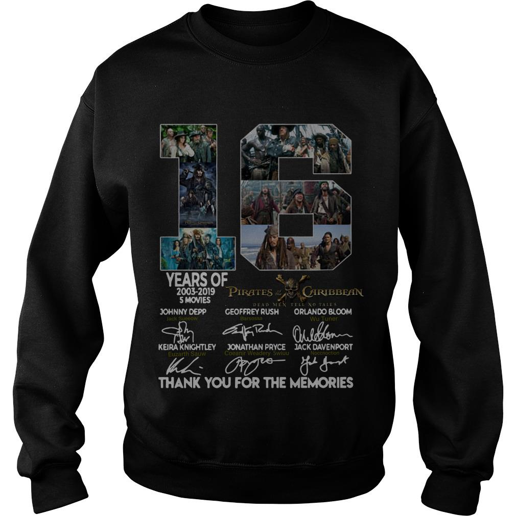 16 Years of Pirates Caribbean thank you for the memories signatures Sweatshirt SFA