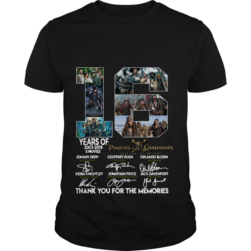 16 Years of Pirates Caribbean thank you for the memories signatures T shirt SFA