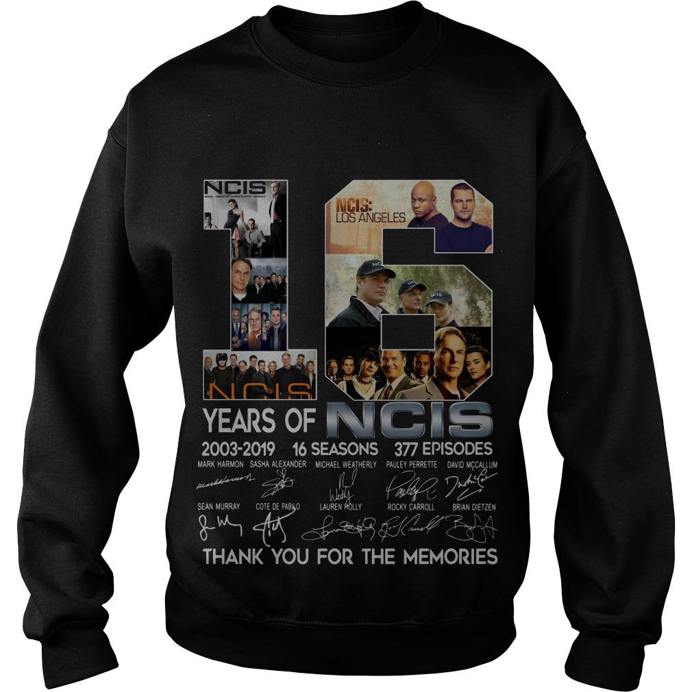 16 Years Of NCIS 2003 2019 Thank You For The Memories Signatures Sweatshirt SFA