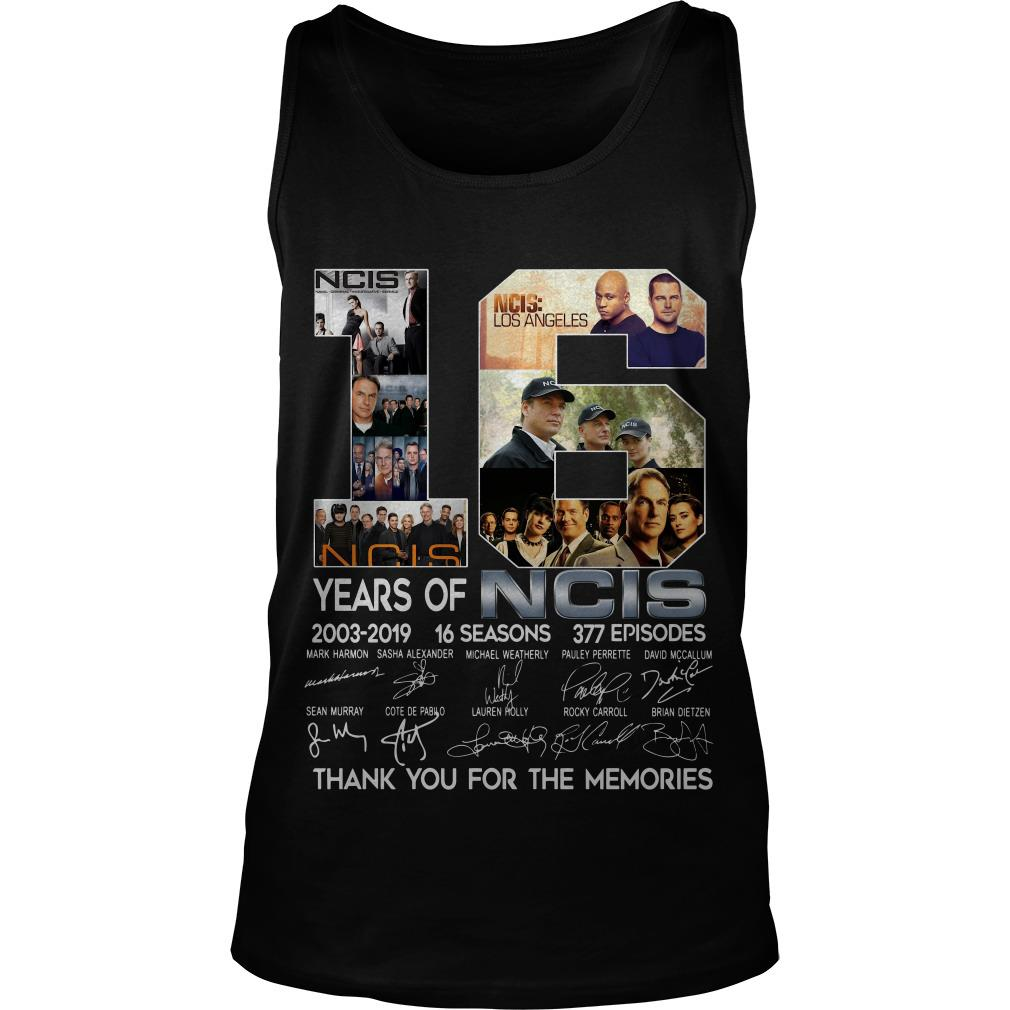 16 Years Of NCIS 2003 2019 Thank You For The Memories Signatures Tank Top SFA